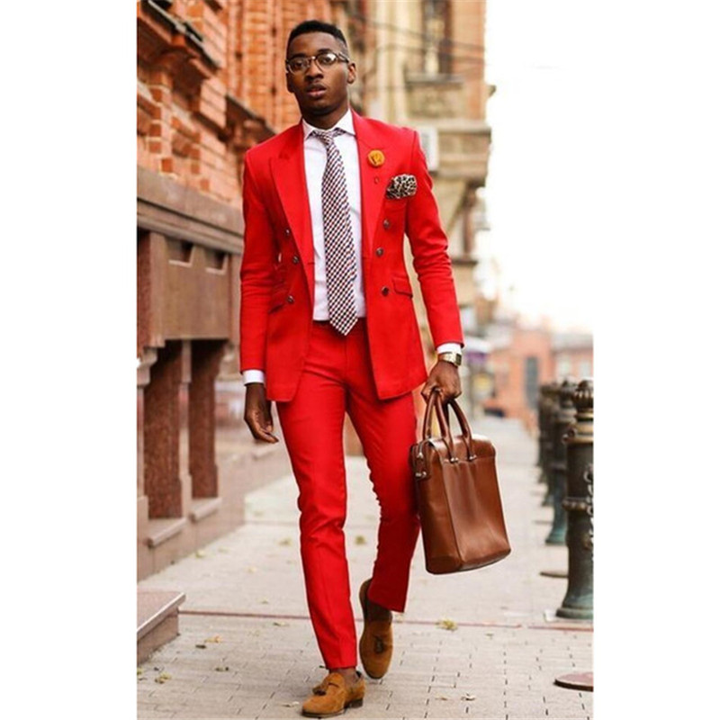 Custom Mens Suits Costume Homme Red Men's 2 Piece Wedding Groom Tuxedos Groomsman Best Man Party Prom New Suits Jacket+Pants