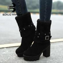 2015 New Fashion High Heels Mid-Calf Boots Round Toe Platform Women Shoes Women's Boots Winter Boots Women Big Size 34-43