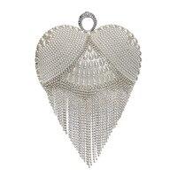 Heart Shaped Diamonds Women Evening Bags Chain Shoulder Purse Day Beaded Small Purse Finger Ring Rhinestones Wedding Handbag