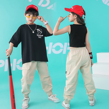 Summer Clothes Set for Big Boys 2 Pcs Clothing Cartoon Loose Black Tshirts Solid Long Pants Kids Sport Suit Streetwear Sets