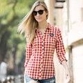 Veri Gude mulheres de algodão xadrez blusa de manga comprida de frete grátis