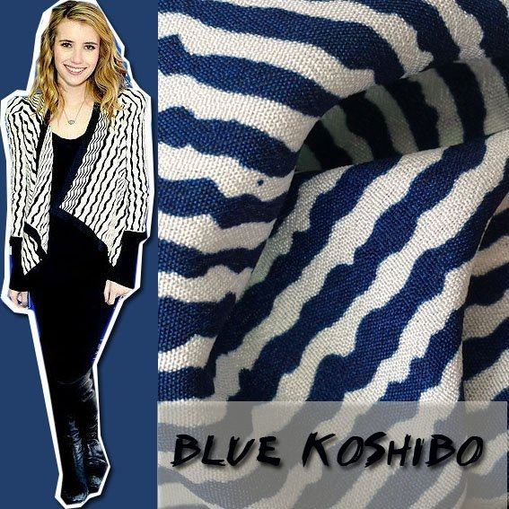 100% Polyester Blue Color Stripe Koshibo  Printing   Fabric