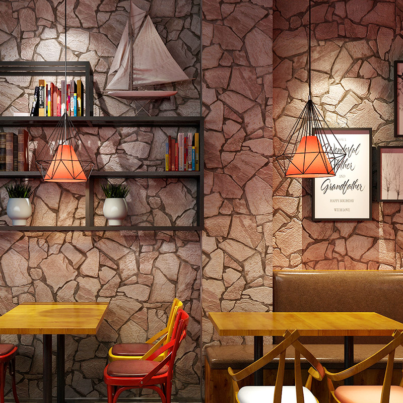 3D Embossed Imitation Stone PVC Wallpaper Personalized Restaurant Cafe Bar Background Wall Decor Waterproof Vinyl Wall Paper 3 D vintage wallpaper modern 3d embossed imitation wood texture wall paper rolls for walls restaurant cafe background wall cocvering