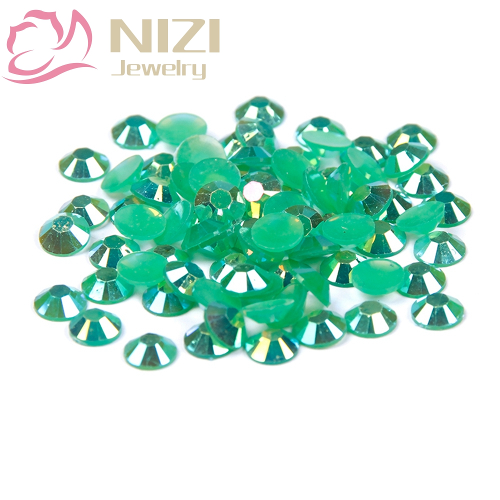 Resin Non Hotfix Round Flatback Rhinestones For Nail Art DIY Decorations New Design Glitter Crystal Stone 2-6mm Emerald AB Color super shiny 1440pcs ss8 2 3 2 4mm clear ab glitter non hotfix crystal ab color 3d nail art decorations flatback rhinestones 8ss