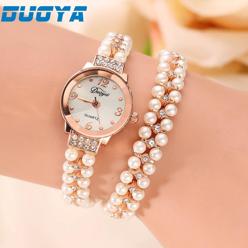 Excellent Quality Duoya Brand Korea Luxury Brand Pearls Bracelet Watch Women Female Ladies Dress Fashion Quartz