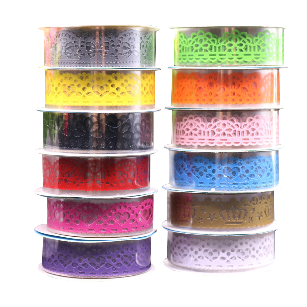 1 pcs Candy Colors Lace Tape Decoration Roll DIY Washi Decorative Sticky Paper Masking Tape Self Adhesive Tape Scrapbook Tape glitter gold silver foil printing washi tape christmas card washi decorative adhesive tape masking paper tape scrapbook gif