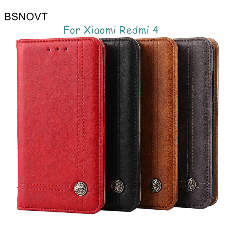 Xiaomi Redmi 4 Case Luxury Flip PU Leather Silicone Wallet Purse Shockproof Phone Case For Xiaomi Redmi 4 Cover Redmi4