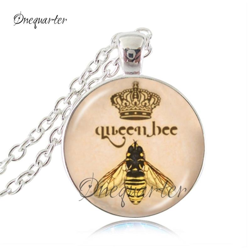 Buy Queen bee necklace flower jewelry animal Honeybee cabochon pendant letter jewelry antique bronze chain neckless women jewellery for $2.54 in AliExpress store