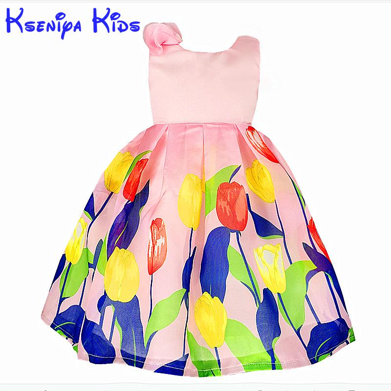 kseniya kids Bohemian Pink Princess Girl Dress Flowers Summer Baby Girls Dresses For Party And Wedding Sleeveless Breathable