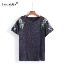 Lanbaiyijia Embroidery white flowers green leaves Women t shirt Short Sleeve Summer tops tees Cotton Shirt Women T-shirt 2 Color