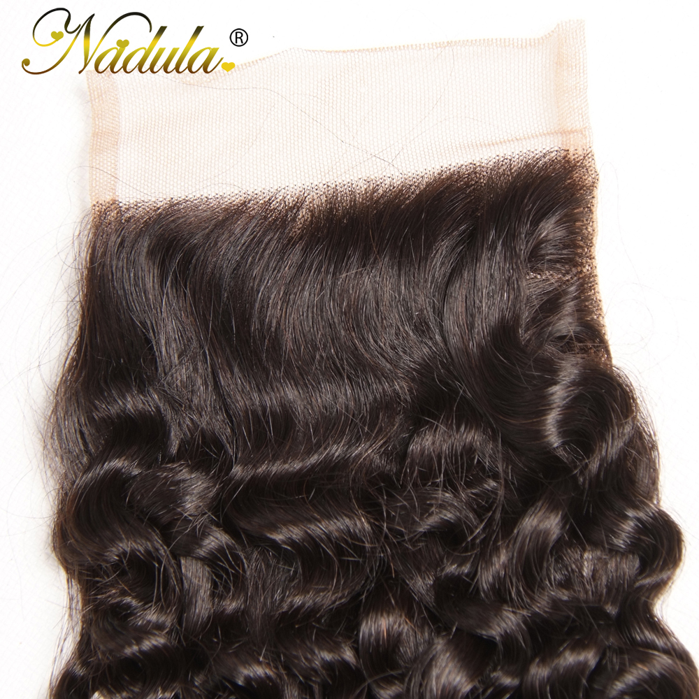 Nadula Hair 4/3 Bundles With Closure  Curly Hair Bundles With 4*4 Lace Closure 100%  Hair s Natural Color 5