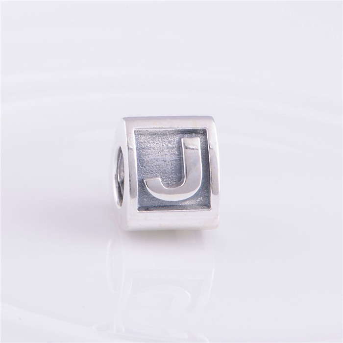 100 925 Sterling Silver Alphabat Character Letter J Charm Beads DIY Jewelry Fit for Pandora Charms