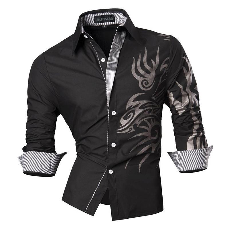 Jeansian Men's Fashion Dress Casual Shirts Button Down Long Sleeve Slim Fit Designer Tattoo Lion Z030 White2 5