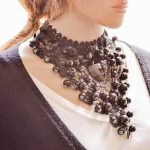 MX0094 Fashion New Charm Hot Sale Bohemian choker necklace Accessories statement Maxi Black Lace Ball Tassel collar necklace