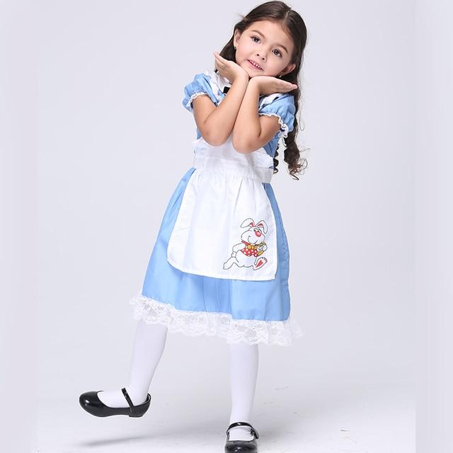Lovely Alice In Wonderland Children Dress Party Cosplay Maid Uniform Sweet  Kids Princess Lolita Dress Halloween