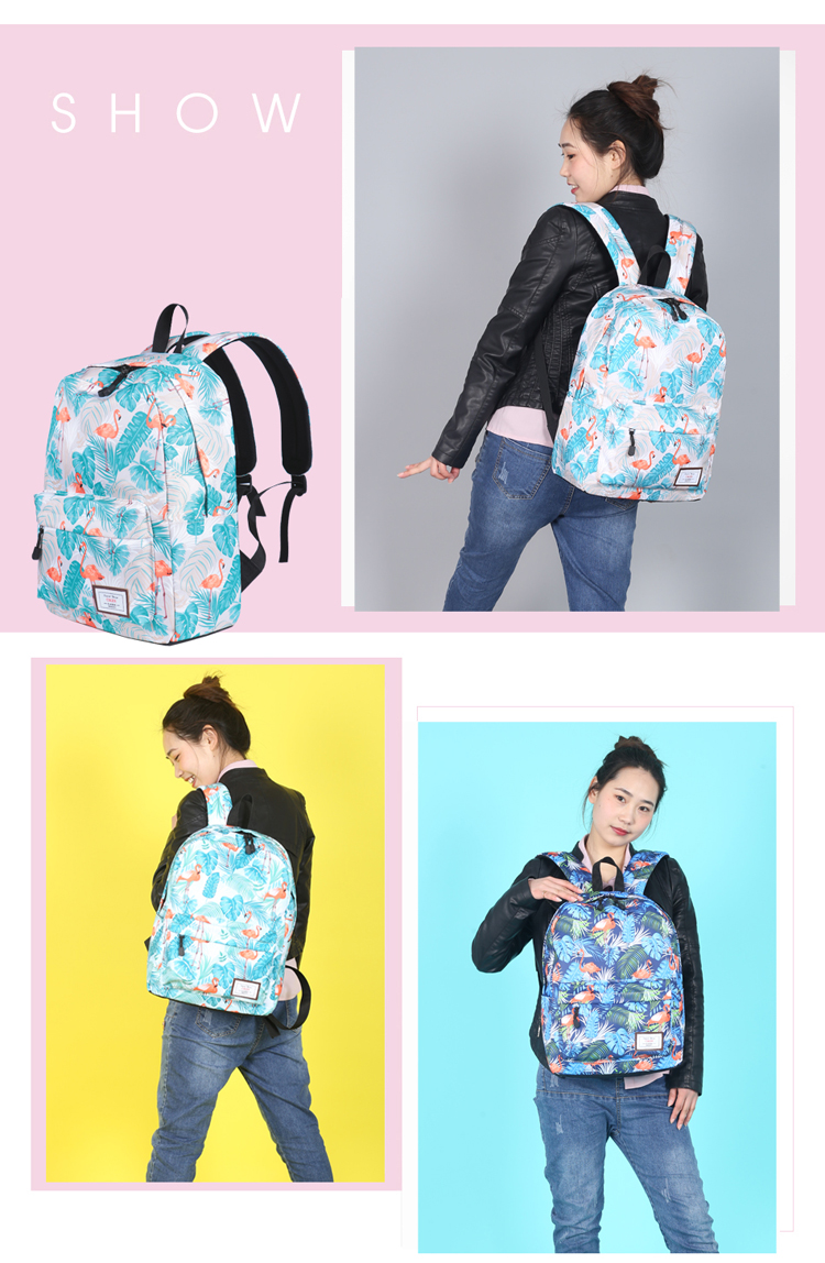 CIKER Hot waterproof women backpack cute fashion Flamingo printing ... c639e338642bd