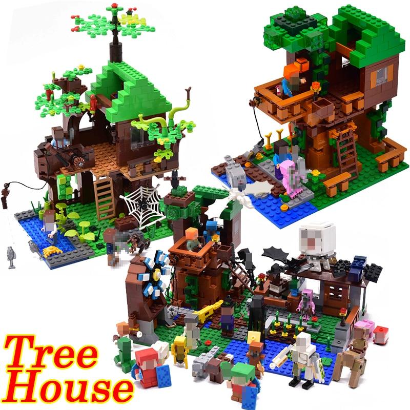 Mi mundo La Selva casa del árbol granja Mini Minecraft Zombie cifras bloques de construcción ladrillos juguetes para los niños Compatible legoingly