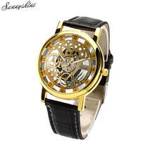 Fashion men watches PU Leather Hollow Dial Analog Rome Digital Quartz Wrist Watch Gift wholesale v