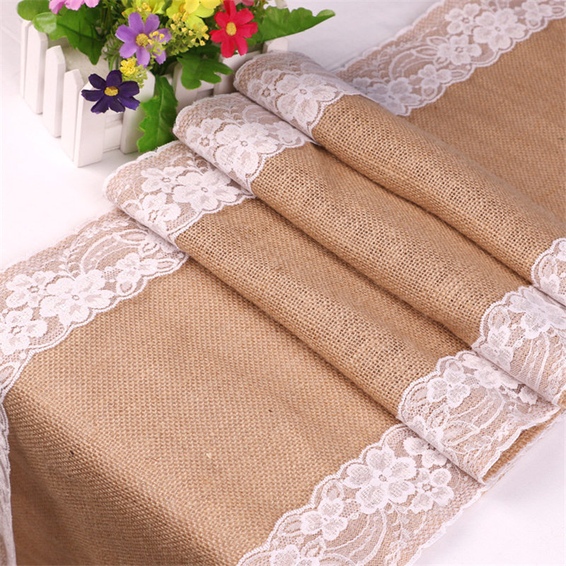 <font><b>30</b></font>*275cm Vintage White Lace Burlap Table Runner Jute hessian Tablecloth Birthday Event <font><b>Party</b></font> Supplies Wedding <font><b>Decoration</b></font> 62556 image