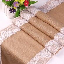 30*275cm Vintage de encaje blanco corredor de la tabla de arpillera de yute mantel EVENTO DE CUMPLEAÑOS fiesta decoración de boda con suministros 62556