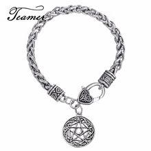 Teamer – Bracelet amulette Vintage pour homme, étoile de lune, David, pendentif Wicca, amulette surnaturelle, Talisman