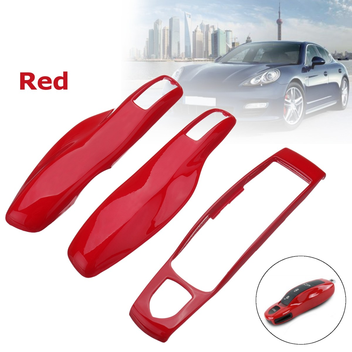 3pc Car Remote Key Case Fob Covers Set For Porsche/Panamera/Spyder/Carrera Macan Boxster Cayman Cayenne 911 970 981 991 92A 2013 колпаки porsche 911 panamera macan