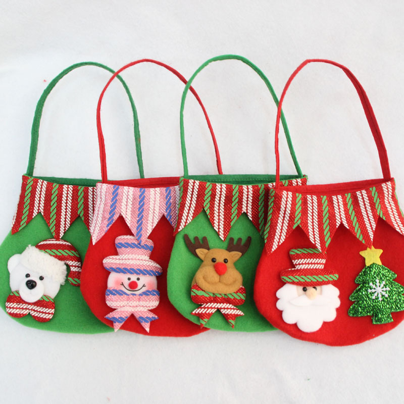 1pc Christmas Santa Claus Snowman Elk Bear Candy Bag XMAS Decor Holiday Small Gift Bags Wholesale New Year