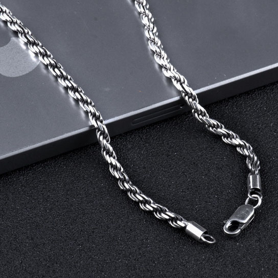925 Silver Chain >> Us 18 39 20 Off 100 Real Pure 925 Sterling Silver Necklace For Men Italy Chain Retro Vintage Brand Jewelry Rope Chain Fashion In Style Hn161 In
