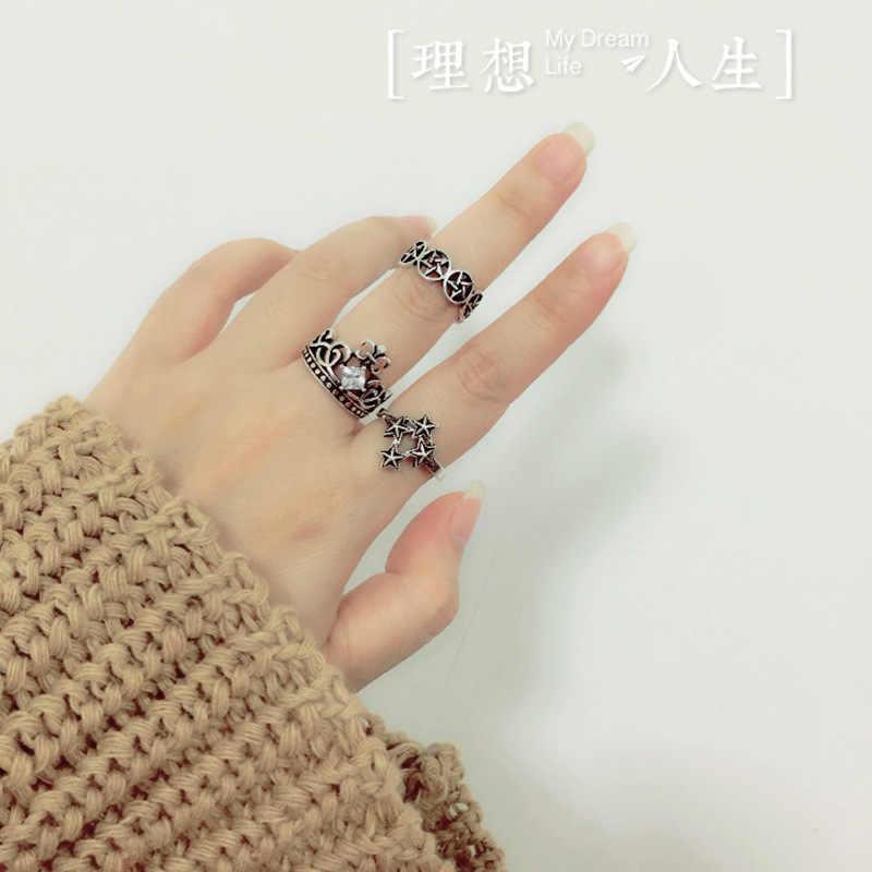 Kiteal Винтажное кольцо с круглой звездой, с отверстием, черное, тайское, серебряное, для женщин, 925, ювелирные изделия, серебро, Анель, S-R306