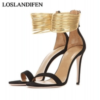 Black And Gold Chain Gladiator Style Sandals For Women High Heels Open Toes Summer Shoes For Women High Heels 2018 TL A0013