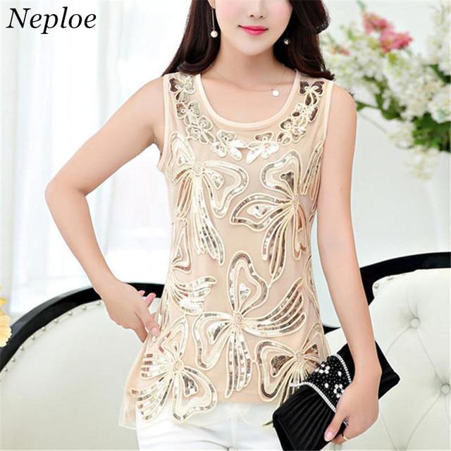 Neploe שרוולים שיפון חולצה תחרה טלאי חולצה גבירותיי בינוני ארוך חולצות 2019 קיץ אישה O-צוואר אלגנטי חולצות 35547
