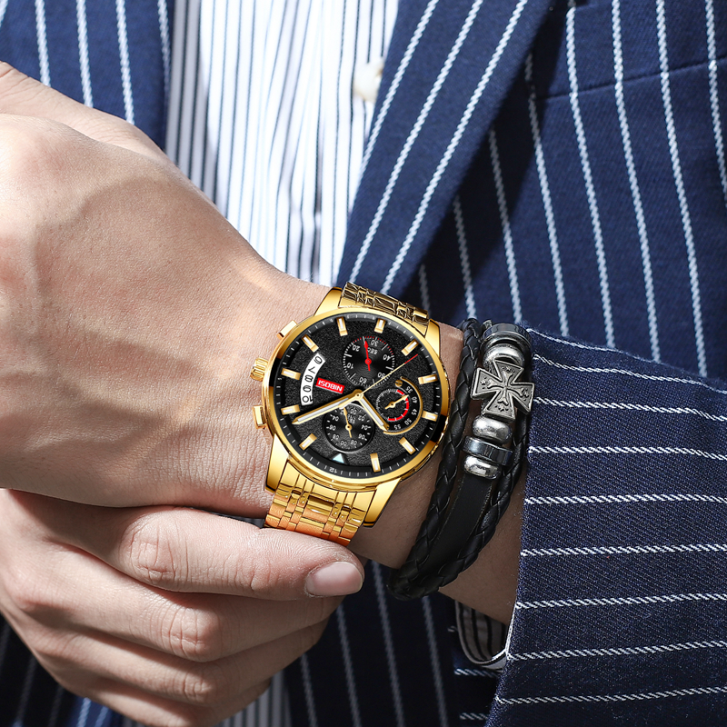 NIBOSI New Brand Quartz Watch Men Sport Watches Men Steel Band Military Clock Waterproof Gold Wrist Mens Watch Relogio Masculino