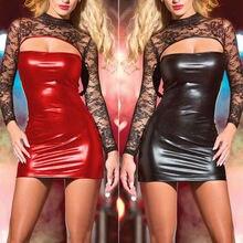 Женское облегающее мини-платье из искусственной кожи