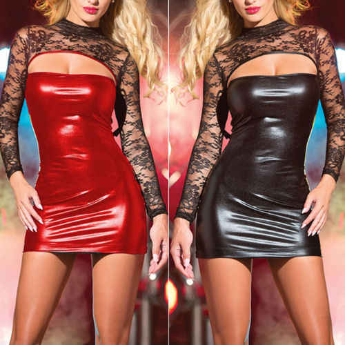 Wanita wanita PU Kulit Wet Lihat Pensil Bodycon Mini Dress