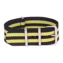 Ремешок из нейлона для наручных часов, браслет из Ткани в стиле милитари, с пряжкой, черный желтый, 22 мм, разные цвета