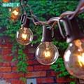 Светодиодные лампы  гирлянды G40  20 светодиодов  европейские и американские вилки  винтажные  уличные  теплые  белые  яркие лампы  украшение  у...