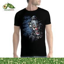 Clown Headphones Funny Men T-shirt XS-5XL NewStreetwear Funny Print Clothing Hip-Tope Mans T-Shirt Tops Tees Hot Sale Men wolf full moon men t shirt xs 5xl newstreetwear funny print clothing hip tope mans t shirt tops tees hot sale men t shirt