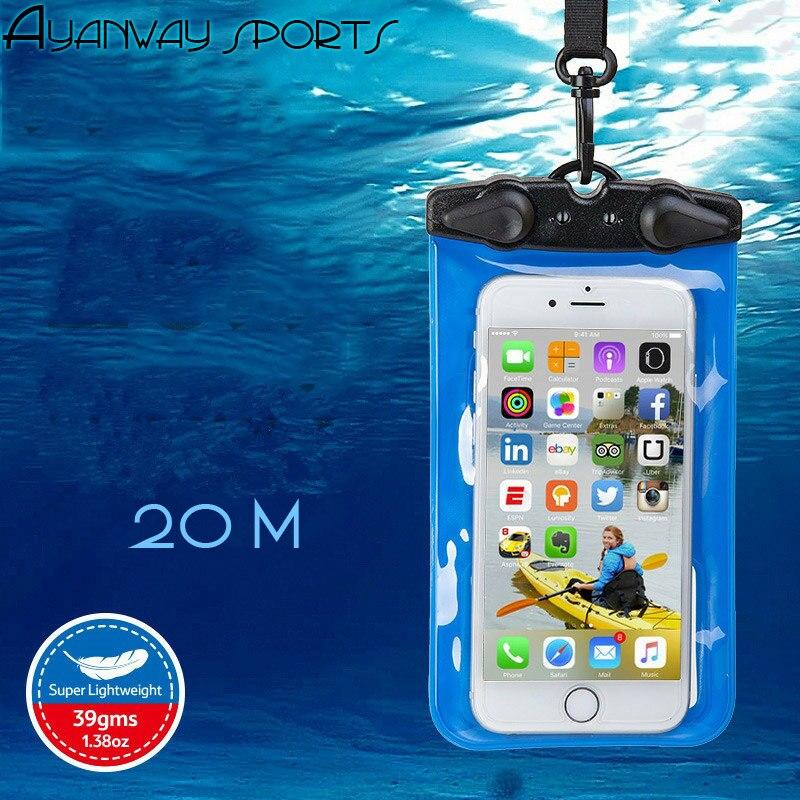 Prix pour IPX8 Mobile téléphone Sac Étanche Avec Cordons Bras bande de plongée 20 mètres pour 4.7 Pouces ou 6 Pouces Téléphone Eau Submersible trempé