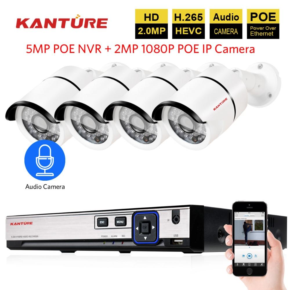 Video surveillance NVR system H 265 4CH 5MP POE NVR with 4PCS 48V 2 0MP 1080P