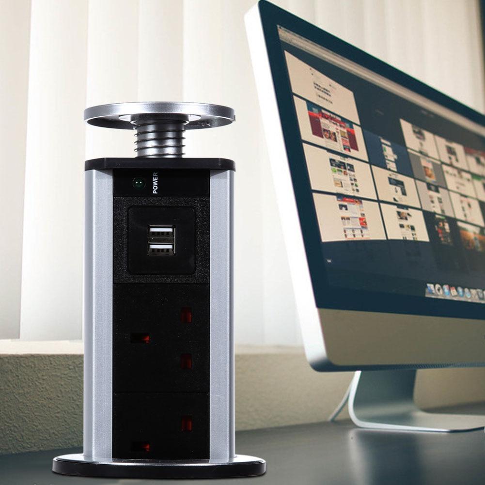 Oversea 2 USB 3 Plug Socket Outlet Pop <font><b>Up</b></font> Pull Power Point Socket <font><b>Kitchen</b></font> Unit Desk Worktop UK Plug