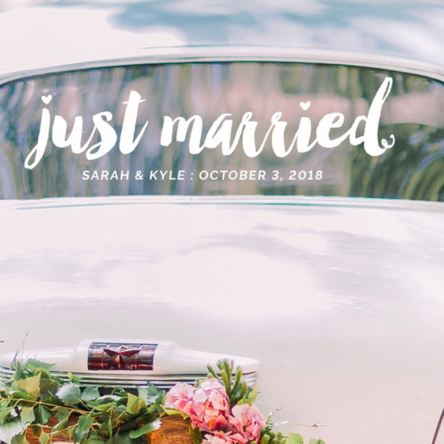 Just Married Decal New Design Wedding Vinyl Sticker Modern Fashion Wedding  Car Art Decor Custom Wall