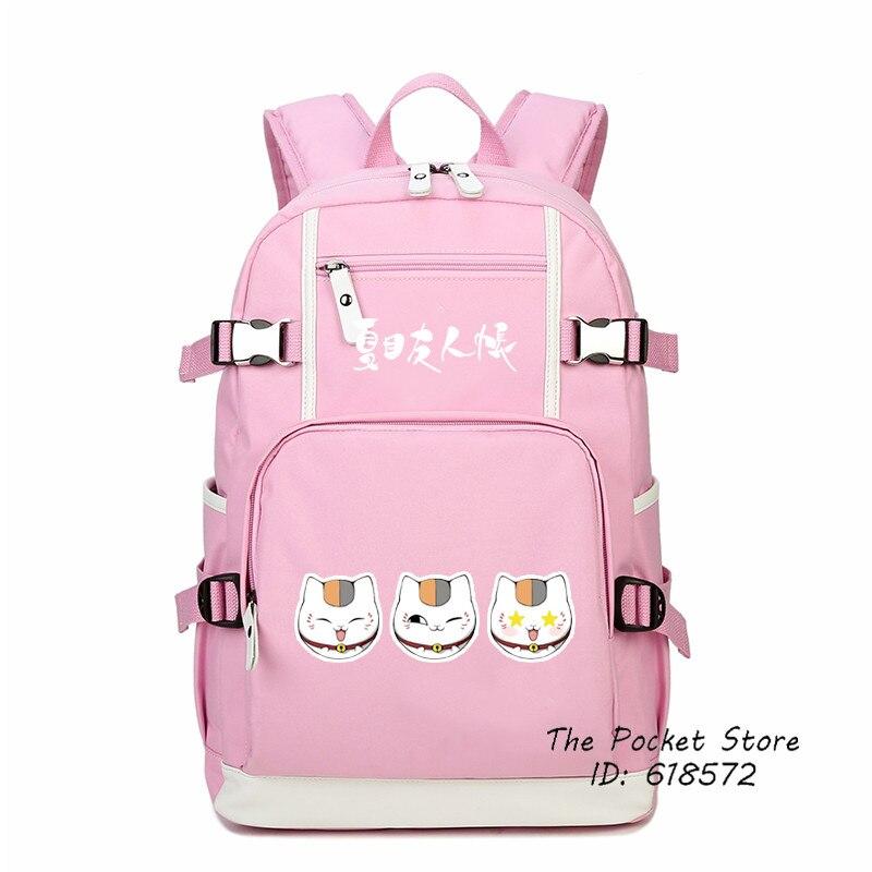 Natsume Yuujinchou Anime sacs Maneki Neko chat enseignant Kawaii femmes sac à dos impression sac à dos pour ordinateur portable en toile Bookbag