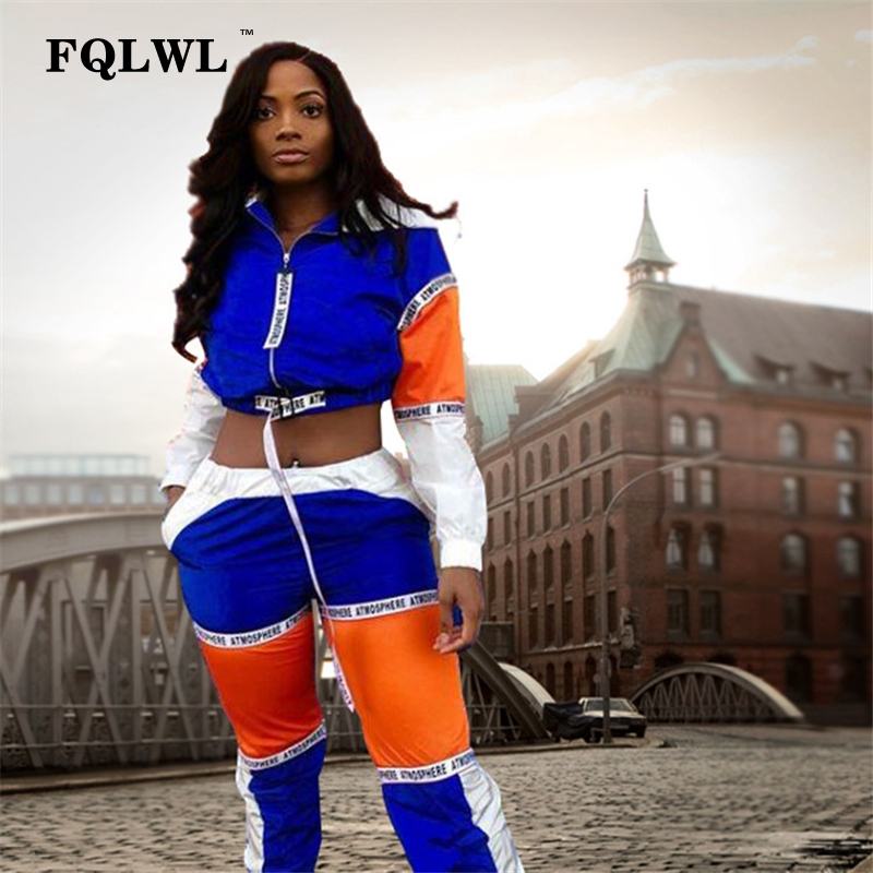 FQLWL Patchwork Women Two Piece Outfits Letter Print Hooded Long Sleeve Crop Top+Pants Streetwear Tracksuit Women Matching Sets