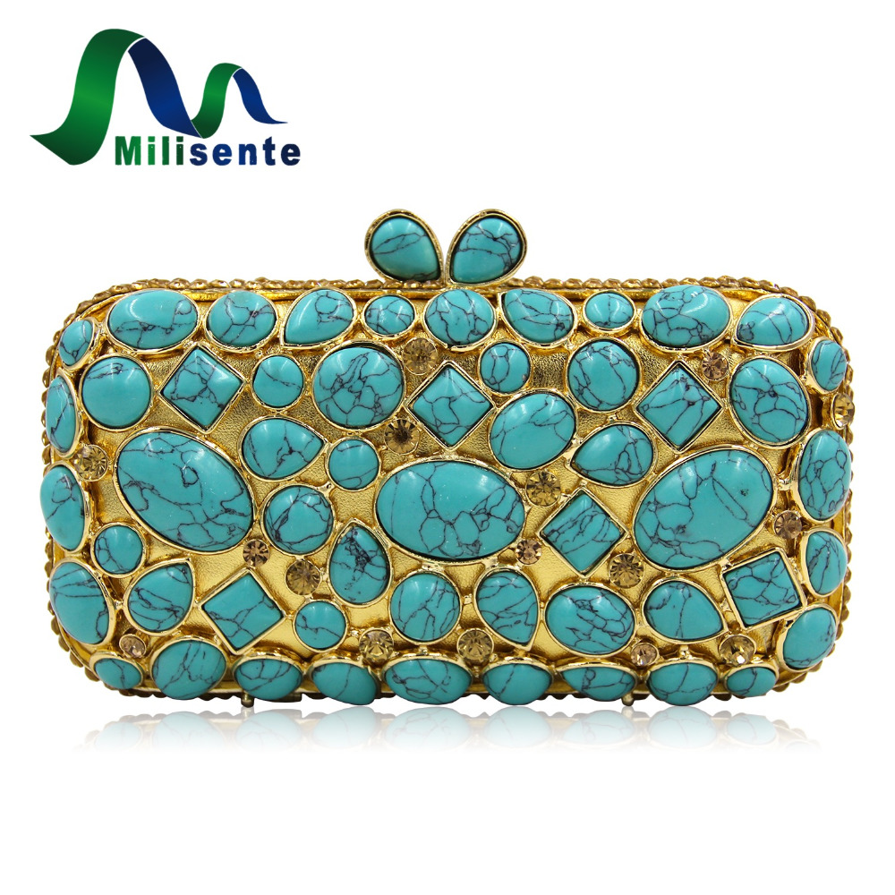 Milisente Brand Women Luxury bag Natural Turquoise Blue Wedding Clutches Ladies Party Purse Chain