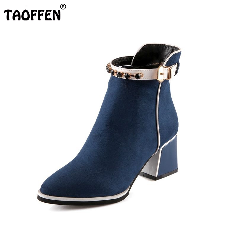 women high heel half short ankle boots martin autumn winter botas fashion buckle footwear heels boot shoes P19994 size 34-39