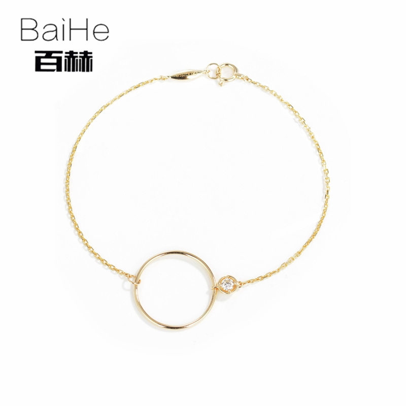 BAIHE Solid 14K Yellow Gold 0.08ct Certified H/SI 100% Genuine Natural Diamonds Party Women Trendy Fine Jewelry gift Bracelet цена
