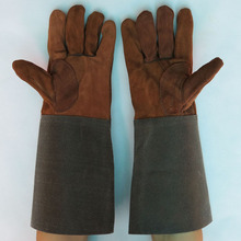 Free delivery Long sleeve Designed leather-based working security shield welding gloves in cow cut up leather-based and manmade leather-based cuff
