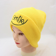 BING YUAN HAO XUAN New Men Women Winter Warm Knitted Caps Embroidery Letter Hat Skullies Hats Yellow Cotton Mask