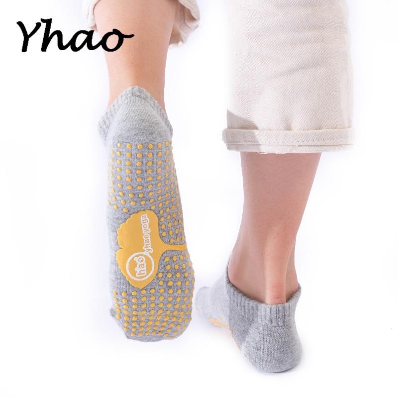 2 Pairs Yhao Women Cotton Yoga Socks Non Slip Hygroscopic Sweat Releasing Good Grip Trampoline Dance