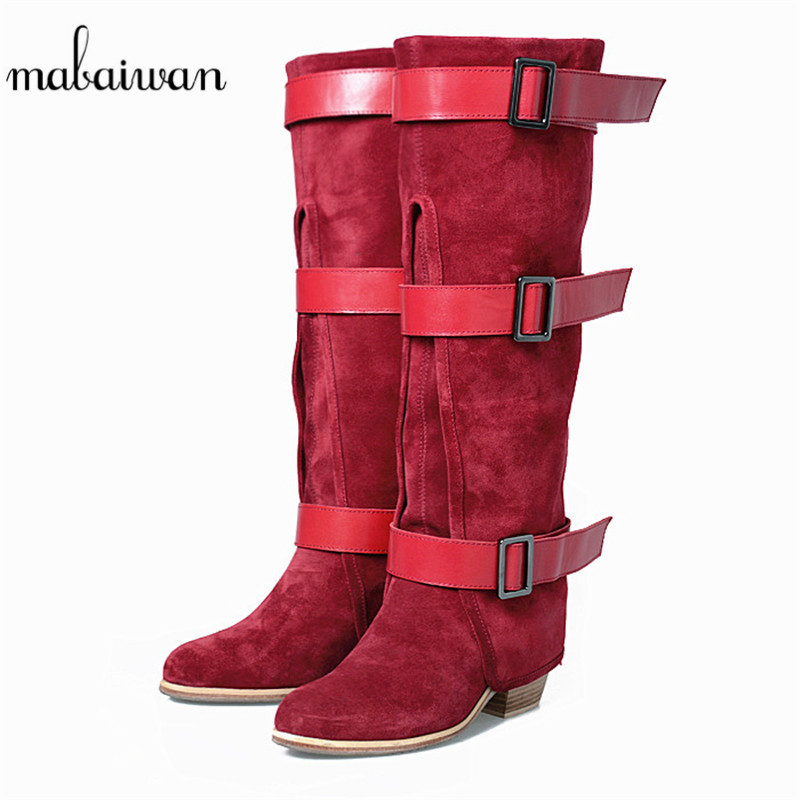 Mabaiwan Fashion Women Knee High Boots Red Cow Suede Slip On Buckle Shoes Woman's Comfortable Warm Thick High Heel Winter Boots